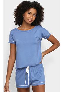 Pijama Lupo Curto Feminino - Feminino-Azul