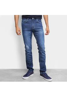 Calça Jeans Calvin Klein Five Pock Slim Straight Masculina - Masculino-Azul