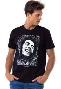 Camiseta Long Island Bob Marley - Masculino-Preto