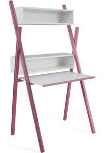 Escrivaninha Rosa E Branca Moderna Pequena Com Nichos E Prateleira Sue Woodinn - 87X62X158 Cm