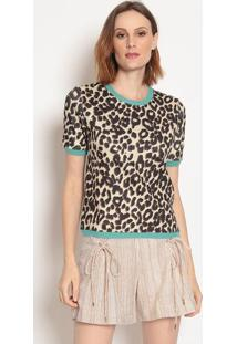 Blusa Animal Print- Marrom & Preta- Wool Linewool Line