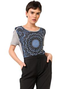 Camiseta Desigual Bristol Cinza/Azul - Cinza - Feminino - Viscose - Dafiti
