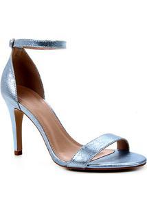 Sandália Couro Shoestock Salto Alto Basic Metalizada Feminina - Feminino-Azul Claro