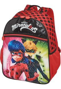 Mochila Escolar Miraculous Lady Bug E Cat Noir