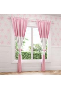 Cortina Quarto Beb㪠Rosa E Branco Laã§Os 2,30M Grã£O De Gente Rosa - Rosa - Menina - Dafiti