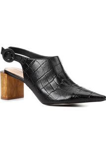 Ankle Boot Couro Shoestock Bico Fino Croco Fivela Salto Madeira - Feminino-Preto