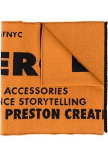 Heron Preston Cachecol De Jacquard E Lã Com Logo - Laranja