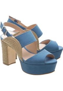 Sandã¡Lia Meia Pata Com Recortes Vazados- Azul & Begeschutz