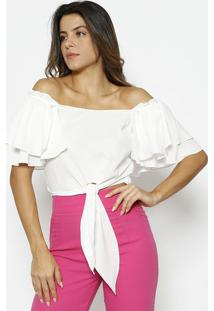 Blusa Ciganinha Com Babados - Branca - Alfredaalfreda