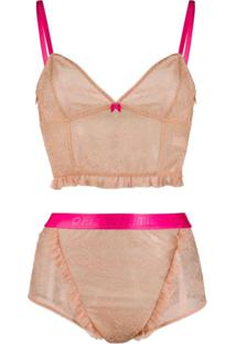 Off-White Conjunto Lingerie De Renda - Neutro