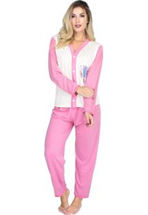 Pijama Longo Bravaa Modas Blusa Aberta Botões 014 Rosa Claro