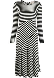 Michael Michael Kors Stripe Panelled Midi Dress - Preto
