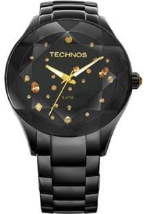Relógio Feminino Technos Com Cristais Swarovski - Feminino-Preto