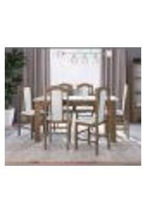 Conjunto De Mesa Com 6 Cadeiras Ameixa Negra E Branco Lilies Móveis