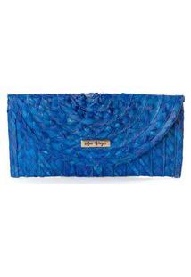 Carteira Clutch Palha Natural Artesanal Imã Casual Prático Azul Azul