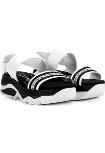Sandália Plataforma Vizzano Papete Velcro Tira Logo Feminina - Feminino-Branco