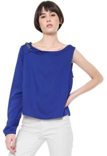 Blusa Ellus One Shoulder Azul