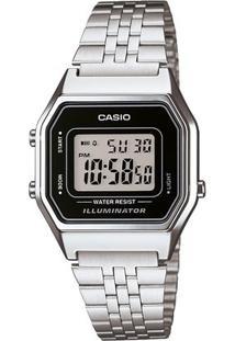 Relógio Casio Vintage - Feminino-Prata+Preto