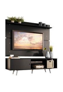 Rack Madesa Dubai E Painel Para Tv Até 65 Polegadas Com Pés - Preto/Branco Preto
