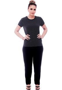 Pijama Ficalinda De Blusa Manga Curta Estampa Poá Preto De Bolinhas Brancas E Viés Preto E Calça Comprida Preta