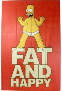 Quadro Zona Criativa Homer Fat And Happy Vermelho
