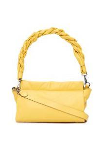 Bolsa Couro Trança - Amarelo