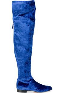 Alberta Ferretti Bota Over The Knee De Veludo E Couro - Azul