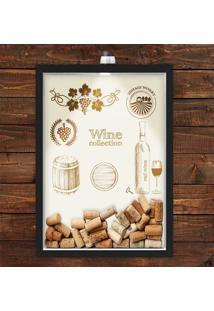 Quadro Caixa Porta Rolha De Vinho 33X43 Cm (Com Led) Lojaria E Nerderia. Wine Collection Preto - Preto - Dafiti
