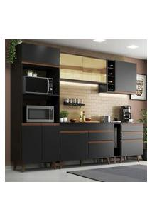 Cozinha Completa Madesa Reims 270001 Com Armário E Balcáo - Preto Preto