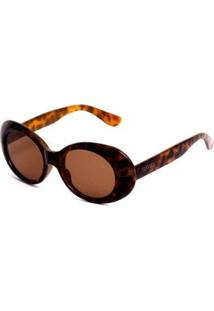 Óculos De Sol Oval - Feminino-Marrom