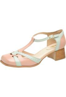 Sapato Retrô Bico Quadrado Dhl Feminino Rosê E Verde - Kanui