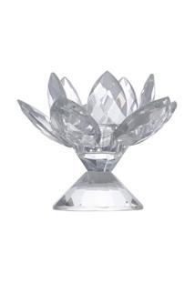 Castiçal Flower De Cristal 10,5X10,5X9Cm - Unissex
