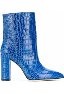 Paris Texas Ankle Boot Com Efeito De Pele De Crocodilo - Azul