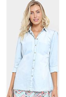 Camisa Jeans Triton Bordada Feminina - Feminino-Azul