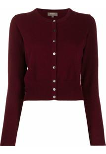 N.Peal Long Sleeve Cropped Cashmere Cardigan - Vermelho