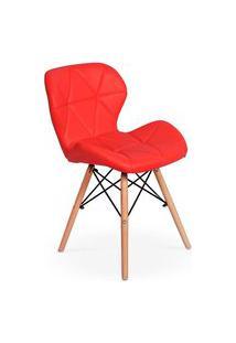 Cadeira Charles Eames Eiffel Slim Wood Estofada - Vermelha
