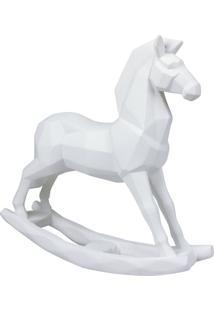 Enfeite Cavalo Branco Em Resina Geométrico