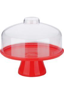 Boleira Com Cupula Alta Para Bolos, Doces E Cupcakes 25Cm, Vermelha.