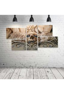 Quadro Decorativo - Caveira-E-Rosas - Composto De 5 Quadros