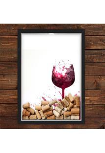 Quadro Caixa 33X43 Cm Porta Rolha Vinho Nerderia E Lojaria Taã§A Vinho Preto - Preto - Dafiti