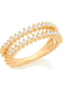 Anel Dourado Com Zircônias Rommanel - Feminino-Dourado