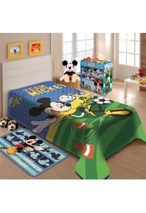 b5d132d8dd ... Cobertor Raschel Juvenil Disney 1.50 X 2.00M Mickey Futebol Jolitex