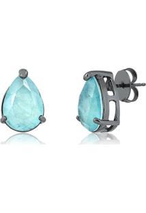 Brinco De Gota Com Pedra Fusion Premium Aquamarine Folheado Em Ródio Negro - 2180000001765