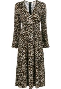 Michael Michael Kors Vestido Midi Com Padronagem Animal Print - Marrom