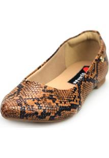 Sapatilha Love Shoes Bico Fino Confort Basica Cobra Caramelo