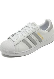 7ed26ae413 ... Tênis Couro Adidas Originals Superstar W Branco Cinza