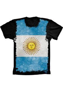 Camiseta Baby Look Manga Curta Lu Geek Flag Argentina Preto
