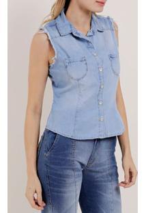 Camisa Regata Jeans Feminina Mokkai Azul