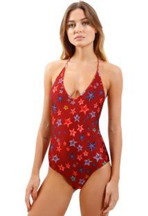 Body Rosa Chá Basic Starfish Beachwear Estampado Feminino (Starfish, Pp)