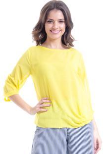 Blusa 101 Resort Wear Nó Amarrar Crepe Amarelo